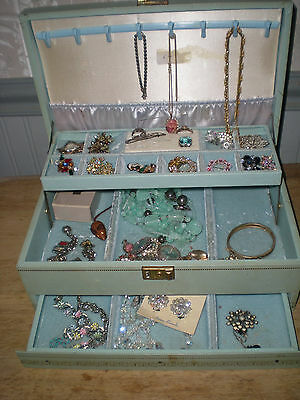 Lot of Vintage Costume Jewelry with Vintage Jewelry Box