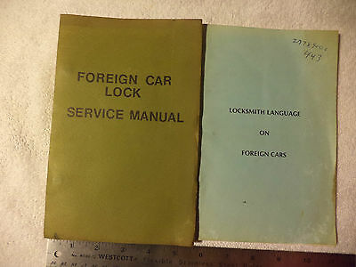 2 Two Vintage Foreign Car Lock Service Manual & Locksmith Language on Foreign Ca
