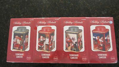 COCA-COLA HOLIDAY-PORTRAITS STONEWARE-32OZ-CANISTERS - Set of 4