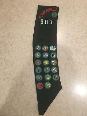 Vintage Girl Scout Green Sash TOTEM COUNCIL 303 | 18 Badges Patches 70's-80's?