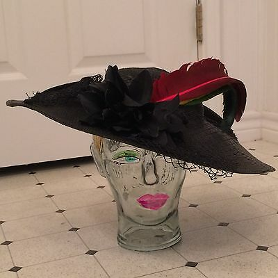 vintage 1940's picture hat with feather and flower