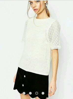 Asos Crochet and Lace Short Sleeve Top. Size 8, BNWT.