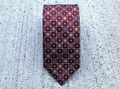 Canali Made In Italy Mens Tie 100% Silk Red, Silver Black, and Blue