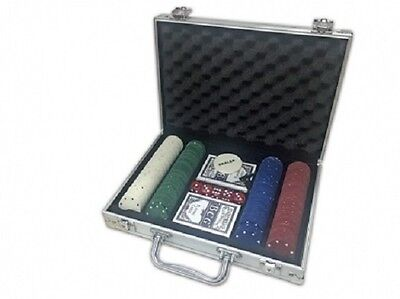 200 Chip Poker Game Play Set Casino Size Chips Dice Gamble Aluminium Carry Case