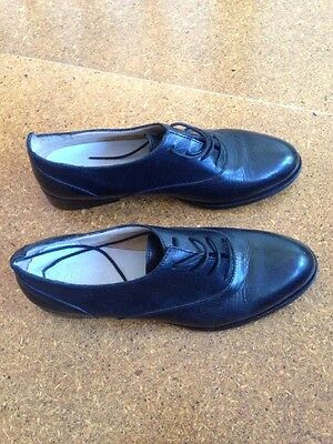 Italian Leather Brogues Black Low Cut Lace Up 38 7.5 8