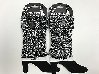 Crochet Knit Boot Sock Cuffs Toppers Short Ankle Leg Warmers with Button Black B