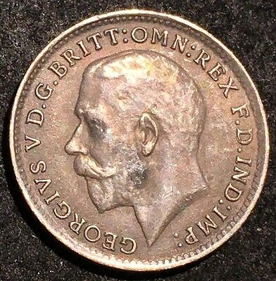 1920 UK Great Britain 3 Pence Silver Coin
