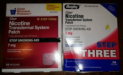 28 Clear Nicotine Transdermal System Patches 7 mg 2x 14 ct bx Exp 11/17 & 04/19
