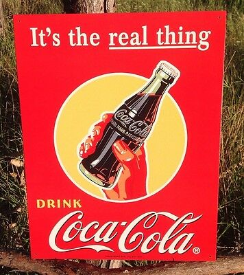 COKE Coca Cola Sign Tin Vintage Garage Bar Decor Old Drink Its the REAL THING