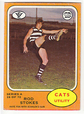 Scanlens 1973A VFL football cards - #28 Rod Stokes Geelong Cats VGC