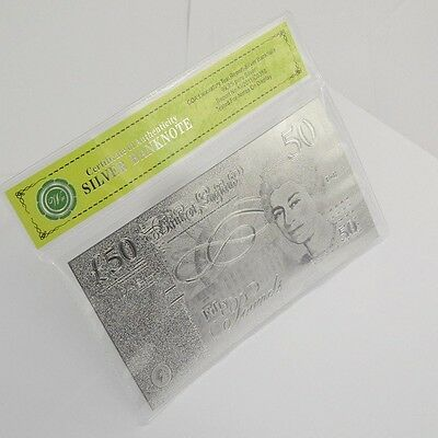 High Quality UK 50 Pound Banknote metal Silver Foil Plated Souvenir