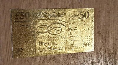 50 British pounds gold plated banknote