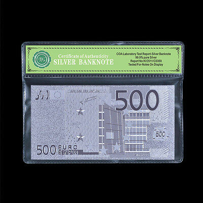 500 Euro Banknote 999 Pure Silver Plated souvenir