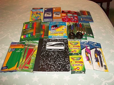 Lot  School Supplies, Markers, Pencils, Highlighters, Erasers, Scissors, Crayons