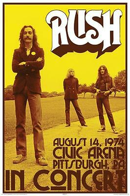 "Rush In Concert Pittsburgh PA August 14, 1974 Reproduction Poster 24"" x 36"""