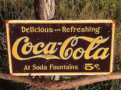 COKE Coca Cola Sign Tin Vintage Garage Bar Decor Old Rustic 1910 Weathered Logo