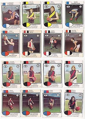 Scanlens 1975 VFL football x 18 cards from various teams - G-VG condition