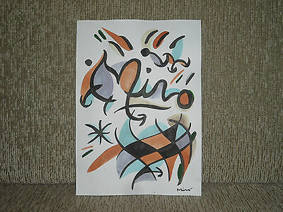 Joan Miro, Signed Watercolor, Rare Old Brazillian Handmade Art On Card Paper