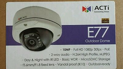 ACTi E77 10mp Full HD IP Security CCTV Camera - In box only used for a few weeks