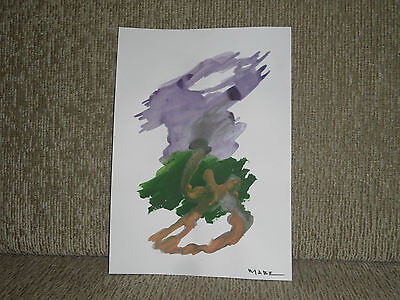 Manabu Mabe, Signed Oil Painting, Card Paper, Handmade Abstract Theme - Rare