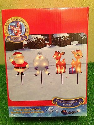 NEW Set of 4 Christmas Rudolph the Red-Nosed Reindeer Lighted Pathway Markers
