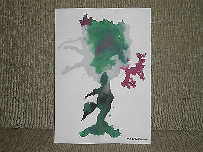 Manabu Mabe, Signed Oil Art, Handmade Abstract Theme - Rare - On Card Paper
