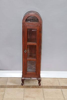 Rustic Country French Style Arched Top Curio China Display Cabinet 3 shelf
