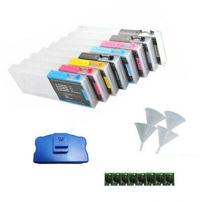 Ink Refillable Cartridge for Epson Stylus Pro 4800 8pcs  with 4 Funnels + Chips