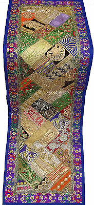 Indian Antique Embroider Sari Beaded Patch Work Wall Hanging Runner Rug Tapestry
