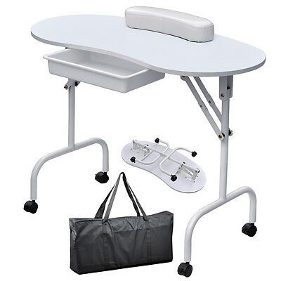 Professional Manicure Nail Table Portable Desk Workstation with Bag & Wrist Rest