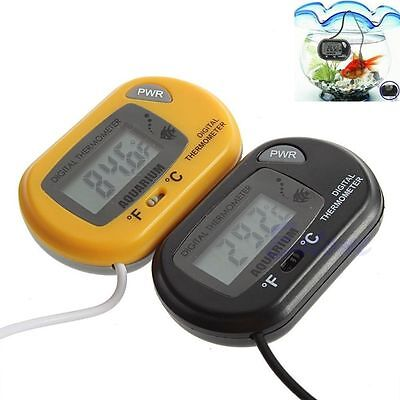 Digital LCD Fish Tank Aquarium Marine Water Thermometer Temperature Black XG