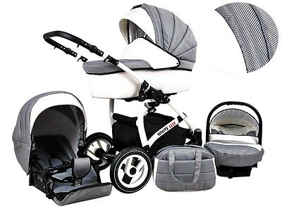 Kinderwagen Whitelux Carbon, 3 in 1- Set Wanne Buggy Babyschale Autositz