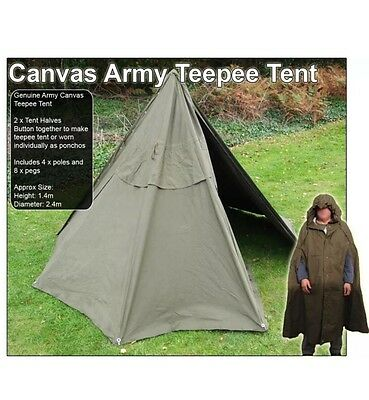 Army Issue Canvas Teepee Tent Poncho With Poles And Pegs