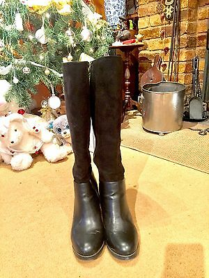NEW LOOK KNEE HIGH BLACK BOOTS UK 8 Faux Suede