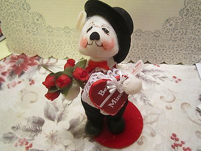 Annalee Valentine Boy Bear Heart Vest Holding Heart Box and Red Roses (2003)