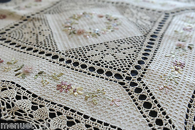 Ribbon Embroidery with Crochet Lace Tablecloth Tea cloth table topper Pink Rose
