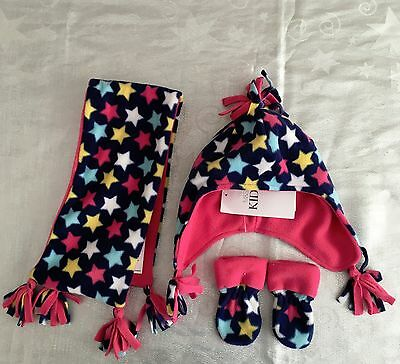 BNWT M&S baby girls pink multi stars fleece hat gloves scarf set RRP £12