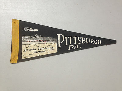 Vintage Pittsburgh Pennsylvania Pennant with Greater Pittsburgh Airport Image