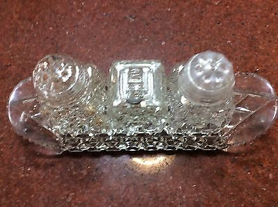 Vintage Glass Salt and Pepper Shakers x 3