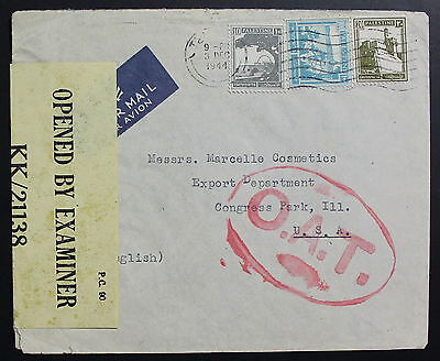 Palestine To United States, OAT, 1944, Cover   #a631