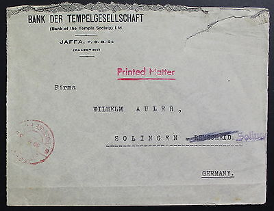 Palestine To Germany, Temple Bank, Printed Matter Cover #a610