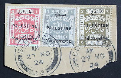 """Palestine Lot of 3 Used Stamps in Cutout """"BER YACOB"""" Postmark #a593"""