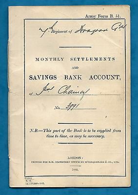 1893-1899 Army Bank Booklet For Private Frederick Chainey 7Th Dragoon Guards