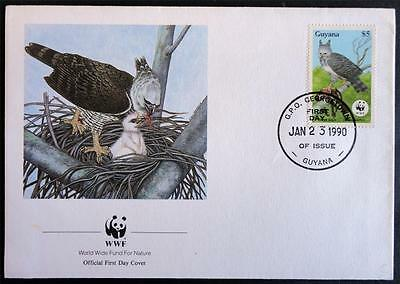 Guyana 1990 'Harpy Eagle' WWF Official First Day Cover (FDC)