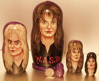 W.A.S.P. -  Very Detailed and Rare Hand Painted Russian Wooden Doll Set