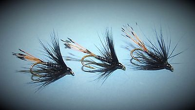 set of 3 black pennel wet flies on size 12 hooks for fly fishing