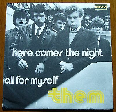 THEM PS Single Here Comes The Night + 1 (Deram DM 400 Italy 1965) ITALY ONLY PS