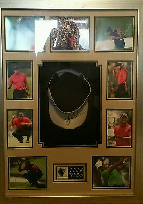 Signed Tiger Woods Golf Sun Hat Framed With Photo Coa