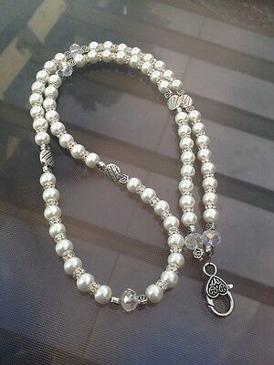 Pearl And Crystal Handmade Lanyard For Work Or Cruises