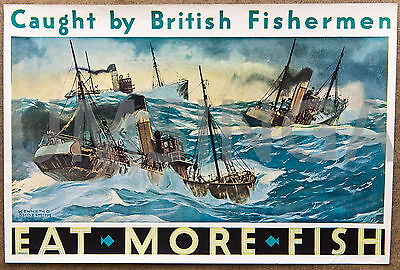 Original Kenneth D Shoesmith Eat More Fish Poster British Trawlers mid c20th
